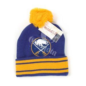 Mitchell & Ness NHL Jersey Stripe Cuff W Pom Buffalo Sabers Beanie MN-NHL-KC84Z
