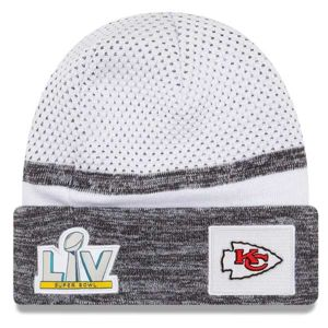 Zimní čepice New Era Kansas City Chiefs White Super Bowl LV Bound Sideline Cuffed Knit Hat