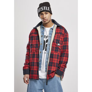 Southpole Check Flannel Sherpa Jacket red