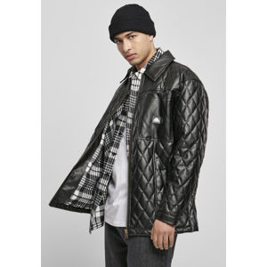 Southpole Imitation Leather Quilted Shirt Jacket black