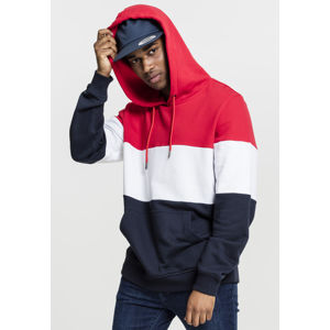 Urban Classics 3-Tone Hoody fire red/white/navy