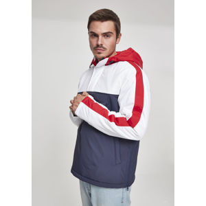 Urban Classics 3-Tone Padded Pull Over Hooded Jacket navy/white/fire red