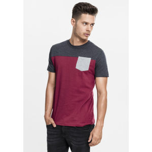 Urban Classics 3-Tone Pocket Tee burgundy/charcoal/grey