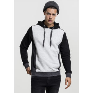 Mikina Urban Classics 3- Tone Sweat Hoody grey/charcoal/black