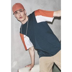 Urban Classics 3-Tone Tee jasper/rust orange/white