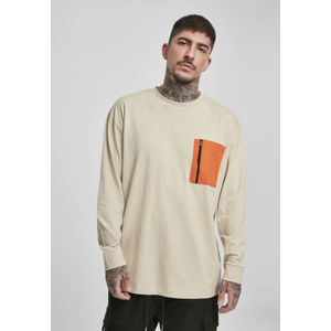 Urban Classics Boxy Big Contrast Pocket LS concrete