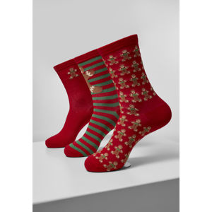 Urban Classics Christmas Gingerbread Lurex Socks 3-Pack multicolor