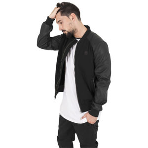 Urban Classics Cotton Bomber Leather Imitation Sleeve Jacket blk/blk