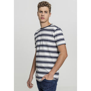 Urban Classics Double Stripe Long Shaped Tee offwhite/navy