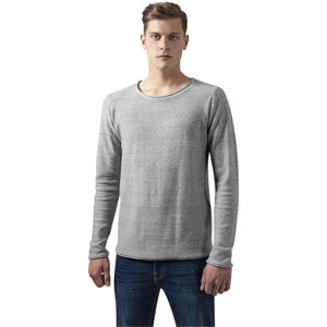 Urban Classics Fine Knit Melange Cotton Sweater grey melange