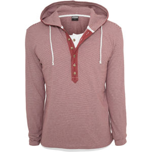 Urban Classics Fine Stripe Button Jersey Hoody ruby/white