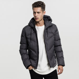 Urban Classics Heringbone Hooded Winter Jacket gry/blk