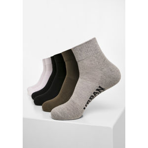 Urban Classics High Sneaker Socks 6-Pack black/white/grey/olive