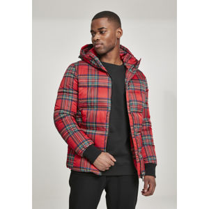 Urban Classics Hooded Check Puffer Jacket red/black