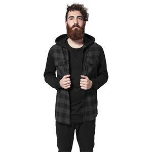 Urban Classics Hooded Checked Flanell Sweat Sleeve Shirt blk/cha/bl