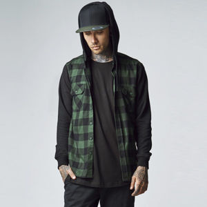Urban Classics Hooded Checked Flanell Sweat Sleeve Shirt blk/forest/blk