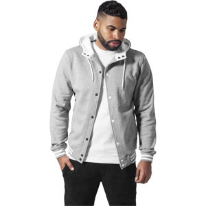 Urban Classics Hooded College Sweatjacket gry/wht
