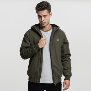 Urban Classics Hooded Cotton Zip Jacket darkolive