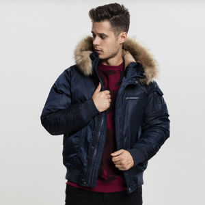 Urban Classics Hooded Heavy Fake Fur Bomber Jacket navy