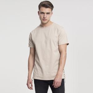 Pánské tričko Urban Classics Lace Up Long Tee sand