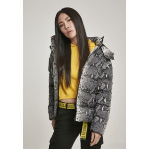Urban Classics Ladies AOP Hooded Puffer Jacket grey snake
