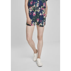 Urban Classics Ladies AOP Viscose Resort Shorts BLUE FLOWER