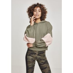 Urban Classics Ladies Ballon Sleeve Teddy Hoody olive/rose