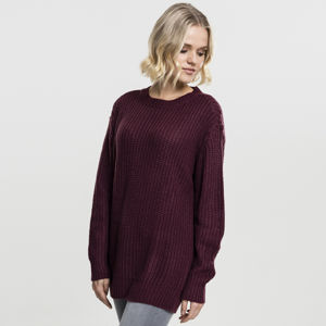 Dámský svetr Urban Classics Ladies Basic Crew Sweater cherry