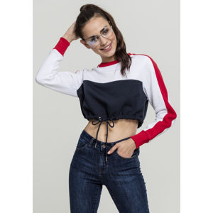 Urban Classics Ladies Cropped 3-Tone Stripe Crew navy/white/fire red