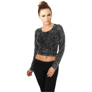 Urban Classics Ladies Cropped Acid Wash L/S darkgrey