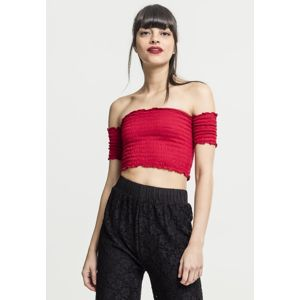 Urban Classics Ladies Cropped Cold Shoulder Smoke Top fire red