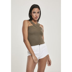 Urban Classics Ladies Cross Top olive