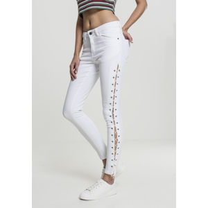 Urban Classics Ladies Denim Lace Up Skinny Pants white