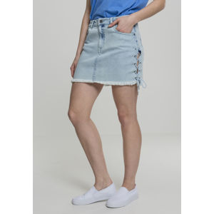 Urban Classics Ladies Denim Lace Up Skirt blue bleached