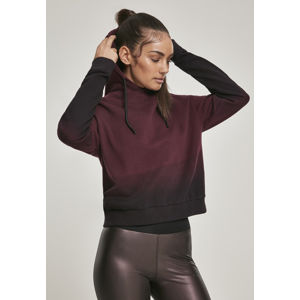 Urban Classics Ladies Dip Dye Hoody black/redwine