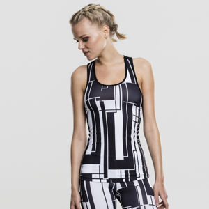 Urban Classics Ladies Graphic Sports Top black/white