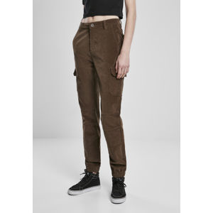 Urban Classics Ladies High Waist Cargo Corduroy Pants dark olive