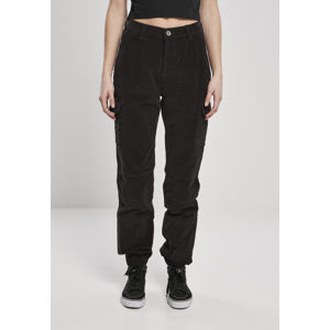 Urban Classics Ladies High Waist Cargo Corduroy Pants schwarz