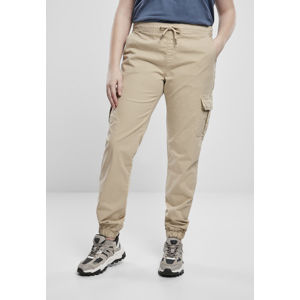 Urban Classics Ladies High Waist Cargo Jogging Pants concrete
