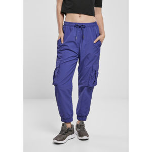 Urban Classics Ladies High Waist Crinkle Nylon Cargo Pants bluepurple