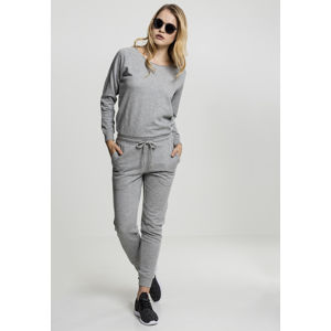 Urban Classics Ladies Long Sleeve Terry Jumpsuit grey