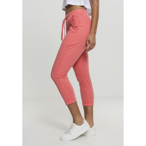 Urban Classics Ladies Open Edge Terry Turn Up Pants coral