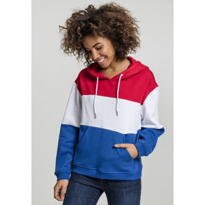 Urban Classics Ladies Oversize 3-Tone Hoody fire red/white/royal