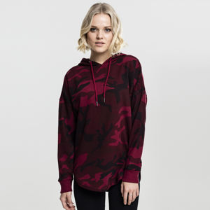 Urban Classics Ladies Oversized Camo Hoody burgundy camo