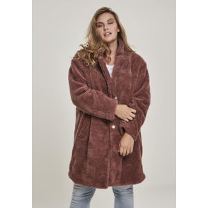 Urban Classics Ladies Oversized Sherpa Coat darkrose