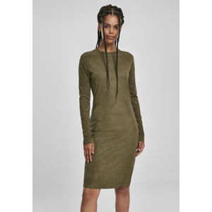 Urban Classics Ladies Peached Rib Dress LS olive