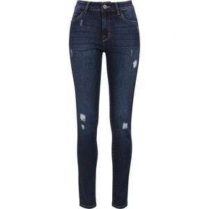Urban Classics Ladies Ripped Denim Pants darkblue