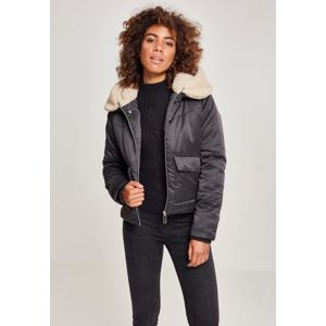 Urban Classics Ladies Sherpa Hooded Jacket blk/darksand