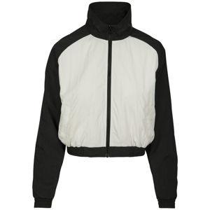 Urban Classics Ladies Short Raglan Crinkle Batwing Jacket blk/wht