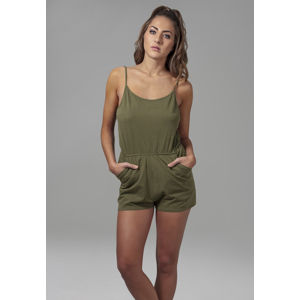 Urban Classics Ladies Short Spaghetti Jumpsuit olive